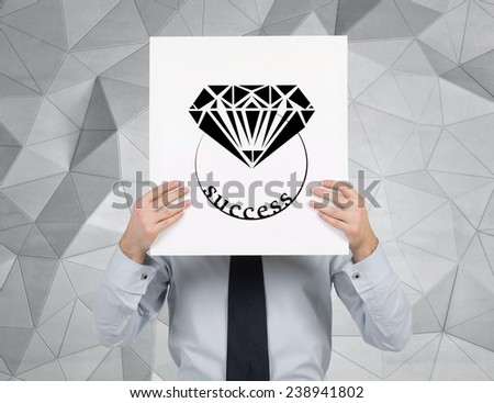 businessman holding placard with drawing brilliant - stock photo