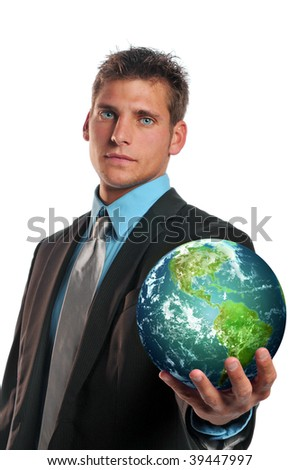 businessman holding planet earth isolated on a white background - stock photo