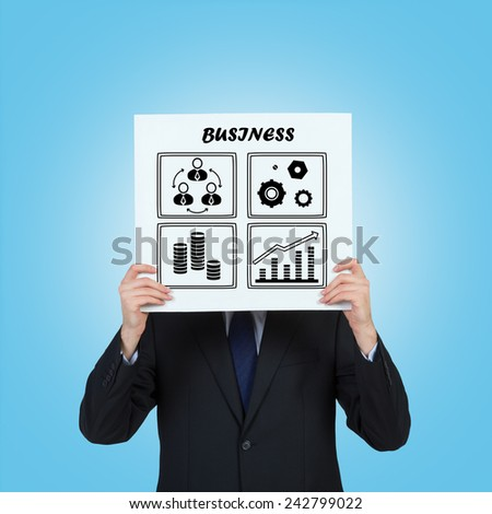 businessman holding poster with drawing business icons - stock photo
