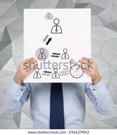 businessman holding poster with drawing  partnership icons - stock photo
