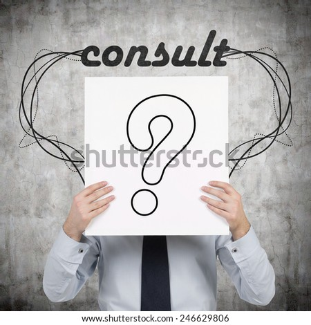 businessman holding poster with drawing  question mark - stock photo