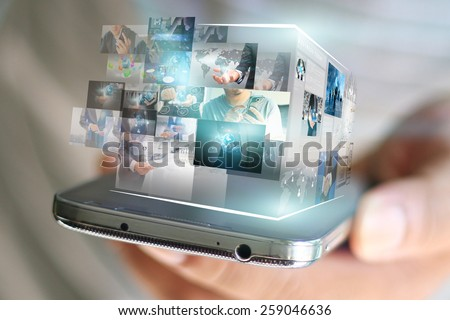 businessman holding social media concept.  - stock photo