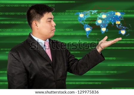 Businessman holding social network and Message - stock photo