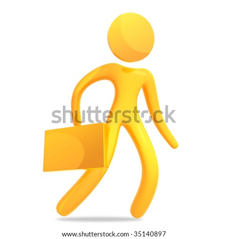 Businessman holding suitcase 3d humanoid icon