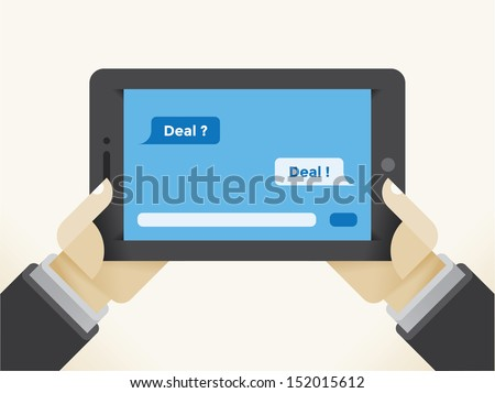 Businessman holding tablet computer with question Deal? and answer Deal! SMS messages chat. - stock photo