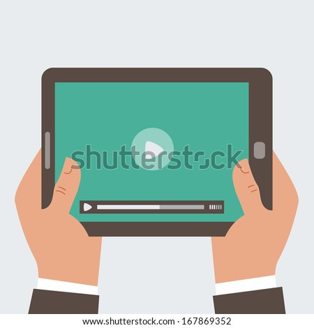 Businessman holding tablet computer  with video player on the screen in the human hands, - stock photo
