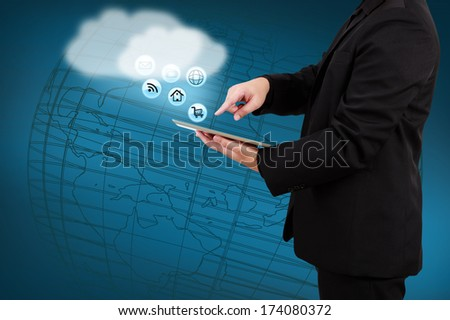 Businessman holding tablet show cloud computing concept on virtual screen. - stock photo