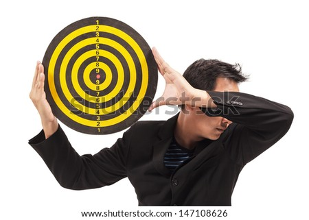 businessman holding target on white - stock photo