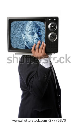 Businessman holding television with image with static on screen