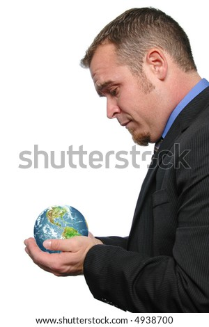 Businessman holding the world isolated on white - stock photo