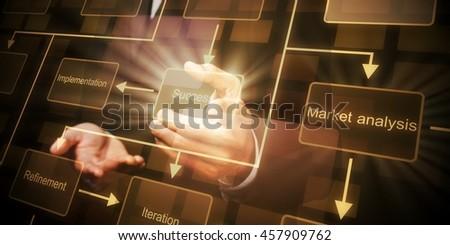 Businessman holding touchscreen. - stock photo