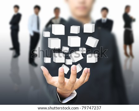 Businessman holding virtual box