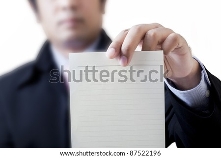Businessman holding white billboard