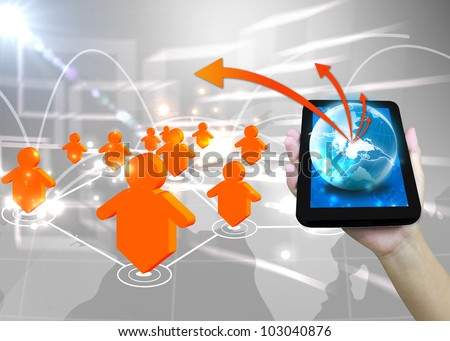 Businessman holding world .Technology social network concept - stock photo