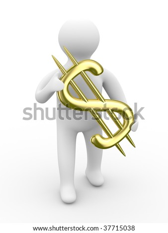 businessman holds dollar on white background. Isolated 3D image - stock photo
