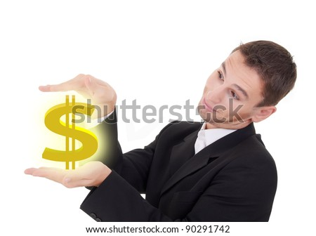 businessman holds golden US dollar sign on a white background - stock photo