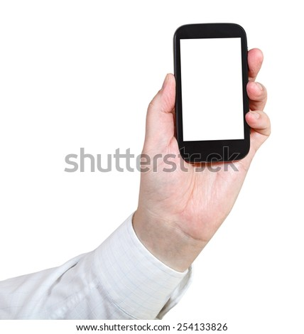 businessman holds mobile phone with cut out screen isolated on white background - stock photo
