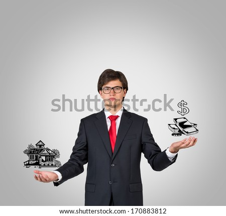Businessman, home and money - stock photo
