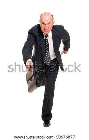 businessman hurrying to job. isolated on white background