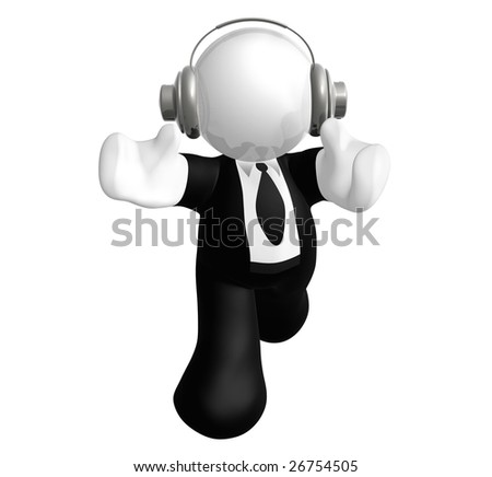 Businessman icon hearing music with head phone