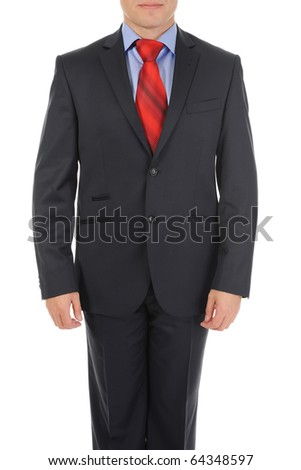 businessman in a black suit. Isolated on white background - stock photo