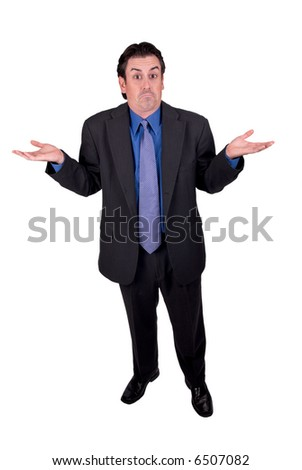 Businessman in a dark gray suit, shrugging isolated on a white background - stock photo