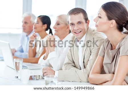 Businessman in a Meeting - stock photo