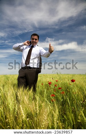 Businessman in a spring field - stock photo
