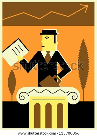 Businessman in a stock market - stock photo