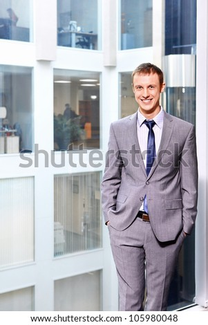 Businessman in a suit at the office