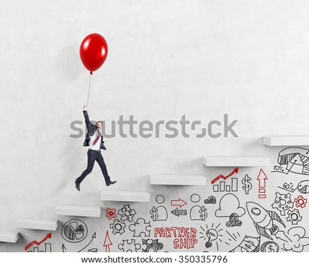 businessman in a suit flying happily holding a balloon over carrer ladder, signs career alternatives under the stairs, concept of success and career growth - stock photo