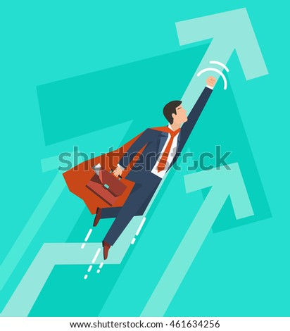 Businessman in a suit superhero flies up. Leadership and business growth concept.  Flat design. Vector illustration