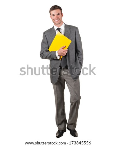 businessman in a suit with a folder in hand is isolated on a white background - stock photo