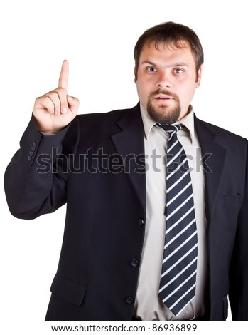 Businessman in a suit with a raised index finger, isolated on white background - stock photo