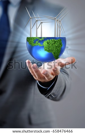 Businessman in alternative energy concept