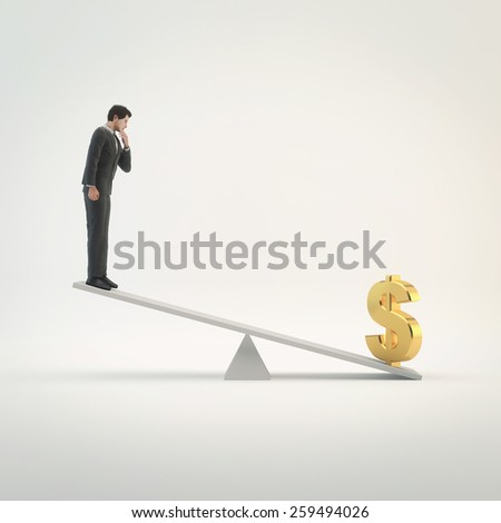 Businessman in balance with dollar signs - stock photo