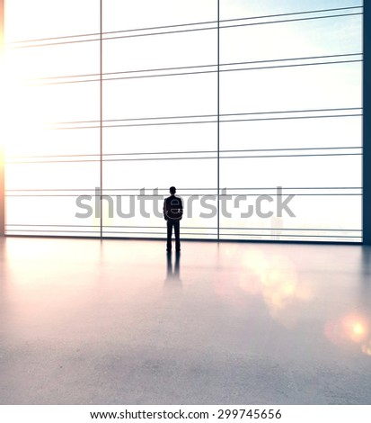 businessman in big sunlight office - stock photo