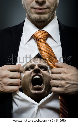 businessman  in black costume throw open one's shirt, inside face with furious grimace