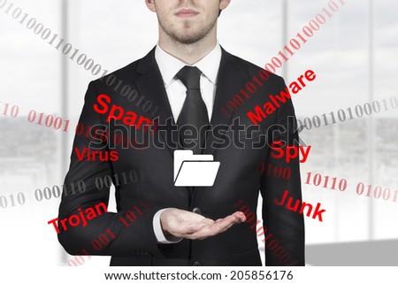 businessman in black suit holding folder symbol internet attack spam malware - stock photo