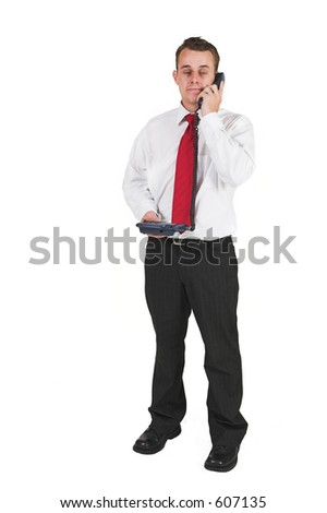 businessman in black trousers white shirt and red tie
