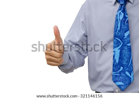 Businessman in blue shirt and necktie thumb up isolated on white background. - stock photo