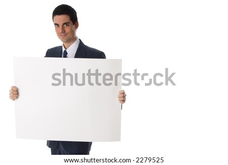 businessman in blue suit holding a white card