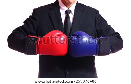 businessman in boxing gloves isolated on white background.  - stock photo