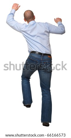 businessman in climb pose isolated on white background - stock photo