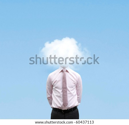 Businessman in cloud - stock photo
