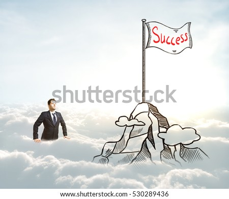 Businessman in cloudy sky with creative mountain top with flag sketch. Leadership concept