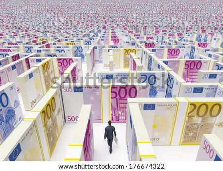 Businessman in Financial Maze Labyrinth made of euro banknotes. High resolution 3D rendering.  - stock photo