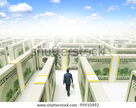 Businessman in Financial Maze Labyrinth made of 100 usd banknotes. High resolution 3D rendering. - stock photo