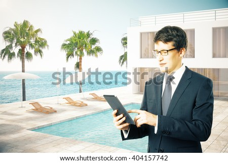 Businessman in front of hotel exterior with swimming pool. 3D Rendering - stock photo
