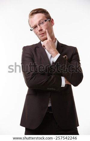 businessman in glasses enjoys fooling around emotional victory